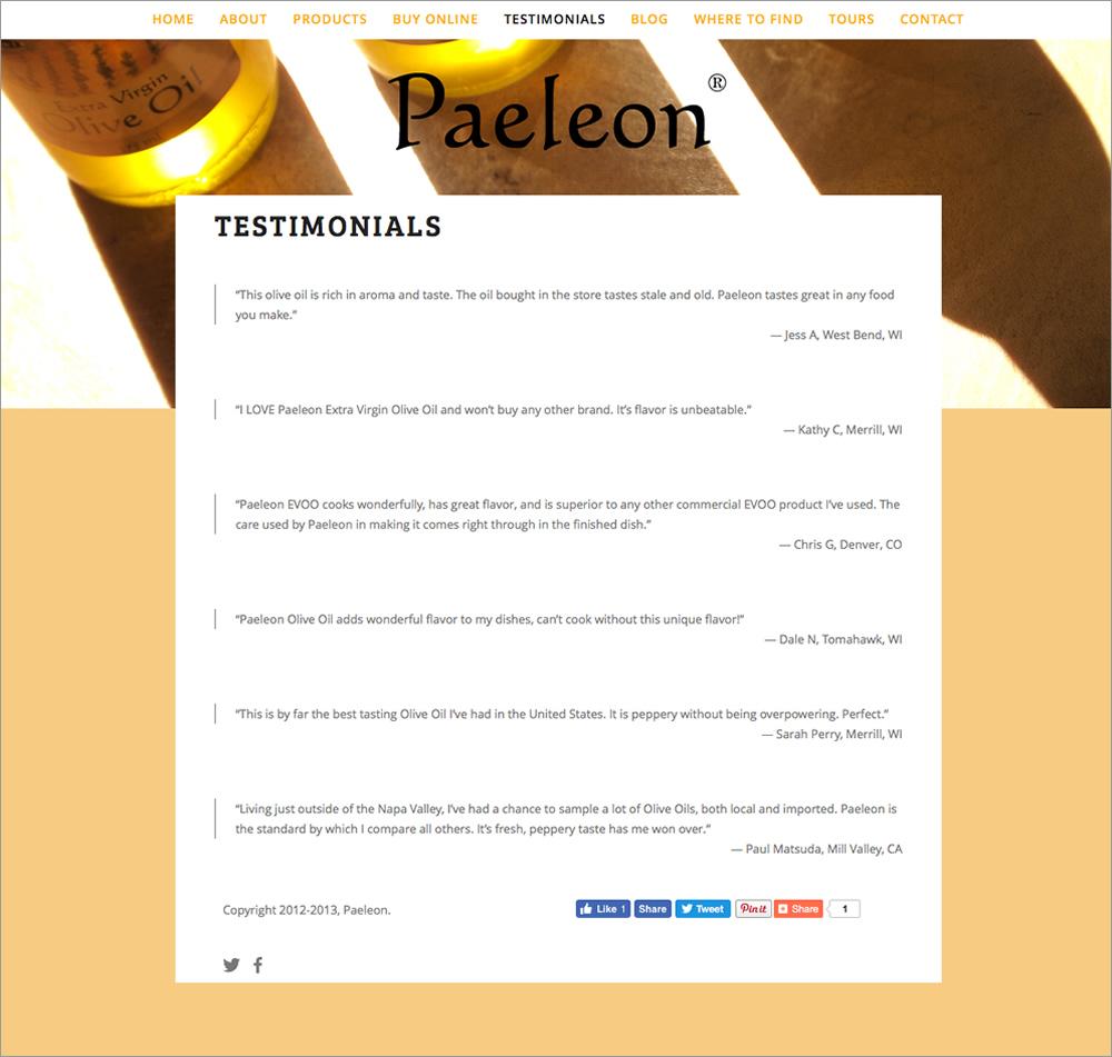 Paeleon Olive Oil - Testimonials
