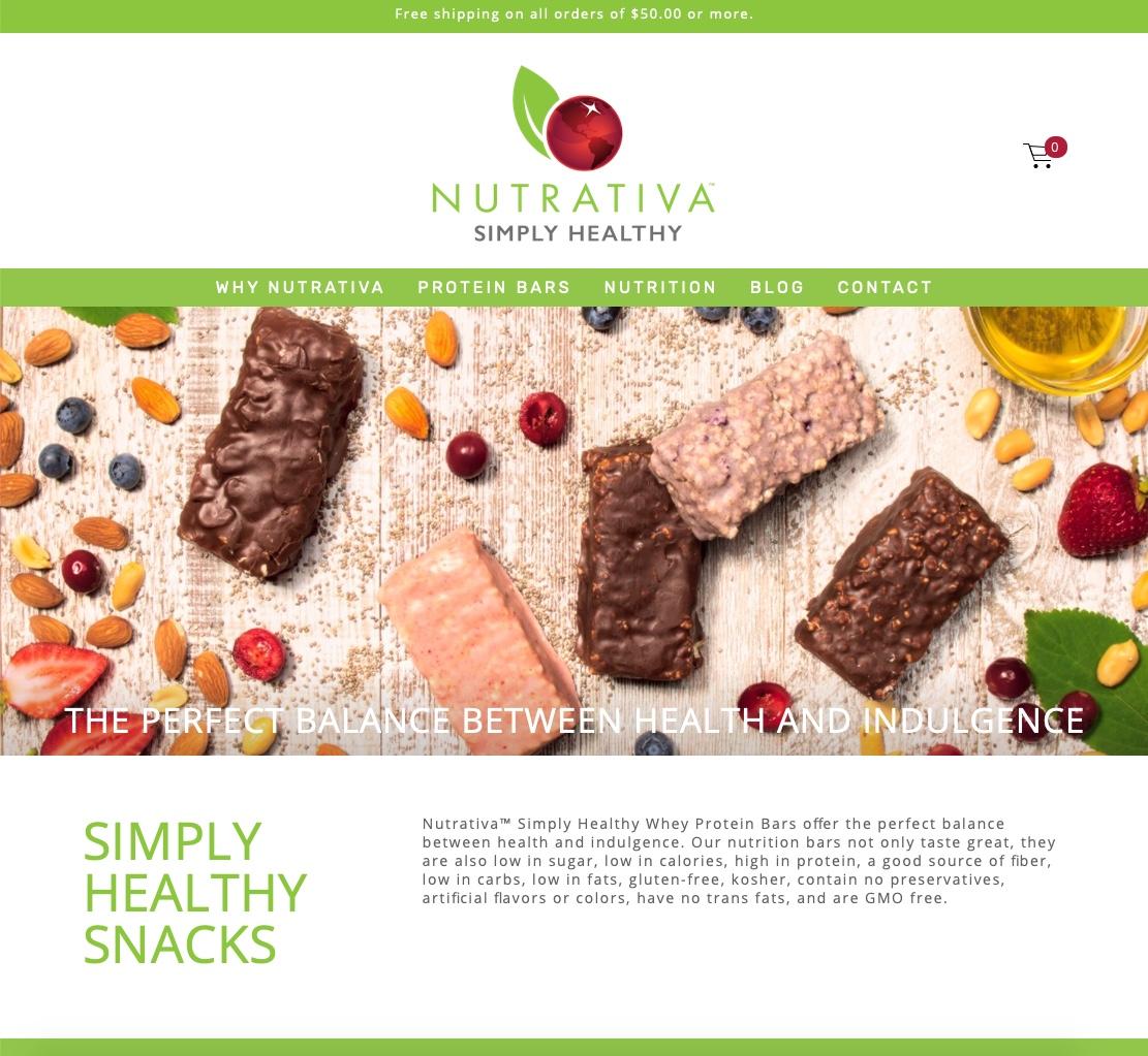 Nutrativa website homepage