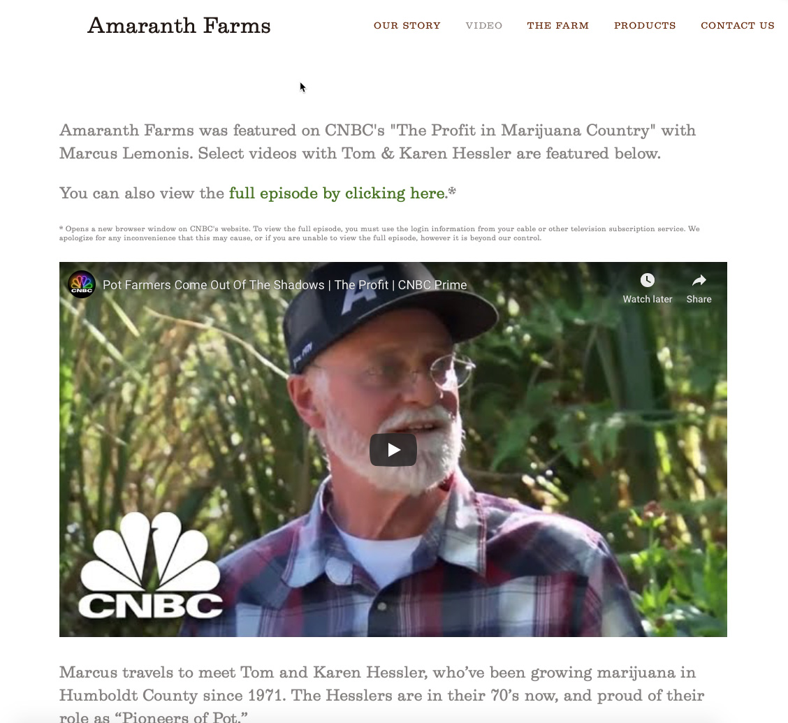 Amaranth Farms MSNBC Video